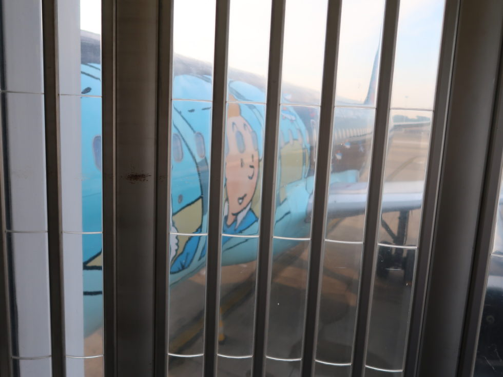 ブリュッセル航空タンタンペイントの飛行機