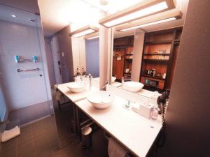 アロフトブリュッセルシューマンの客室洗面所